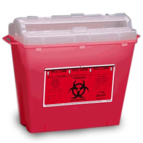 5 Quart Sharps In-Room Biohazard Disposal Containers