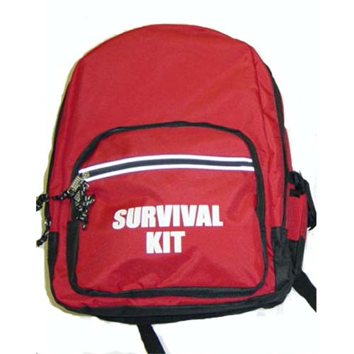 Backpack - Red with Survival Kit Imprint