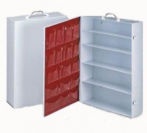 empty metal 5 shelf first aid cabinet